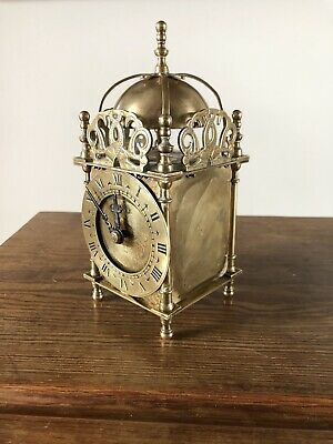 Vintage Smiths Electric Brass Lantern Clock Good Order 1950s .