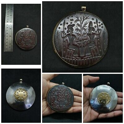 Ancient Roman Unique Intaglio Empire King And Queen Beautiful Art Amulet Pendant