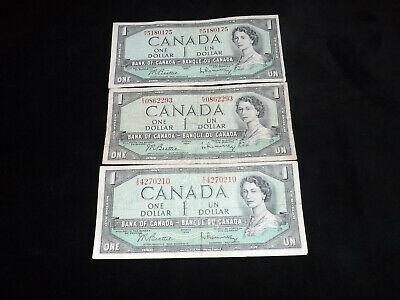 Bank Of Canada Lot -3X 1954 $1.00 Notes =