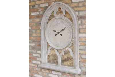 Large Antiqued Stone Grey Mirror Gothic Arch Window Style Wall Clock 140 cm Wide