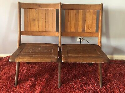 Antique Heywood Wakefield Double Slat Wood Folding Theater Seats Bench Chairs