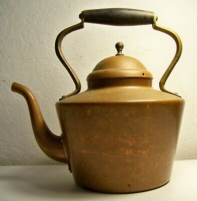 Vintage Copper & Brass Tea Kettle Pot with Wooden Handle With Lid Portugal