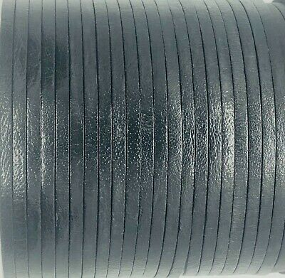Flat 3mm Black Leather Cord Lace 50m Jewellery Making Cord