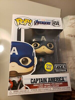 Funko Pop Marvel Avengers Endgame Captain America #450 GITD FYE Exclusive