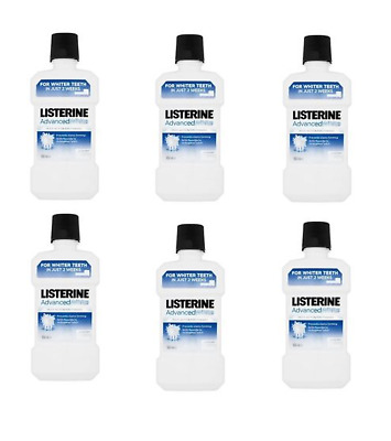 6x Listerine Advanced White Whitening Mouthwash 500ml Clean Mint