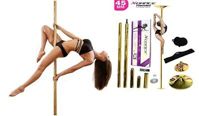 X Dance Pole GOLD Static Spinning Exotic Stripper 9 FT Dance Portable Fitness