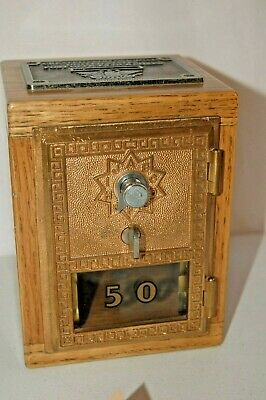 Vintage US POST OFFICE BOX DOOR COIN BANK LOCKBOX limited edition Oak/bronze '60