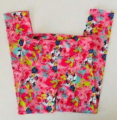 Disney Girls Size 6 6X Minnie Mouse Leggings Pink Hearts Floral