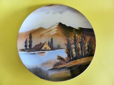 Vintage Hand Painted Display Plate, Mountain Landscape, Made In Japan by Saji