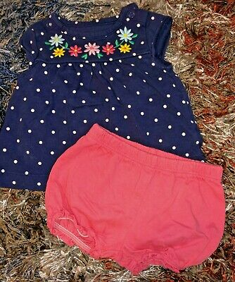 Baby Girls Infants 0-3 Months Two Piece Outfit Set By Carter's Navy Blue Pink Fl