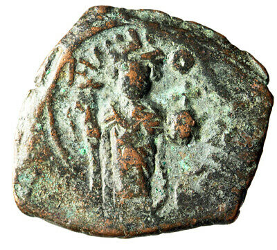 """LARGE Constans II Byzantine Follis 29x24mm """"Facing, Cross"""" CERTIFIED AUTHENTIC"""