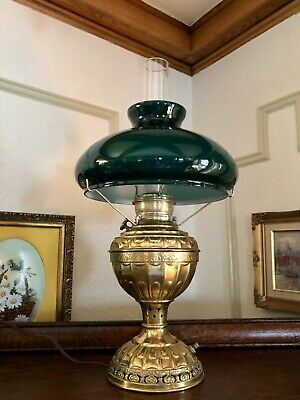 Rare Antique Brass Miller The Empress No. 2 Converted Kerosine Student Lamp 1895