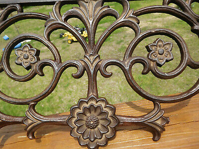 Vintage Arts & Crafts Style Flower & Scroll Cast Iron Piece Wall~Shelf Art Piece