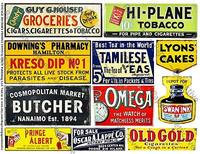 11 ADVERTISING & General Store SIGNS Stickers, 1 Sheet, Junk Journal & Collage