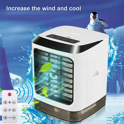 Portable Led Air Cooler Humidifier Purifier Fan Usb Gift Office Remote