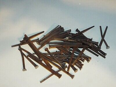 """50 Antique Vintage 2"""" - 2 1/2"""" Square Head Nails 1870s Reclaimed Homestead Barn"""
