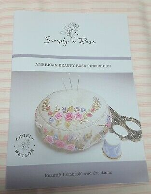 Embroidery Pattern - American Beauty Rose Pincushion by Simply a Rose Designs