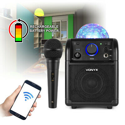 Rechargeable Portable Speaker Bluetooth Music with Party Lights & Microphone BLK