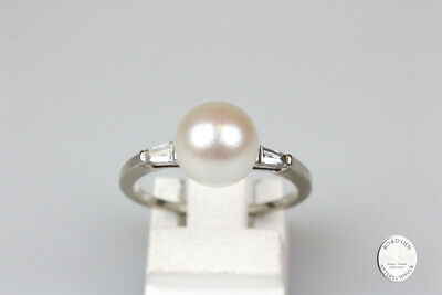 Ring 18 Carat White Gold Pearl Brilliant Gold Jewelry Women's Ring Gift