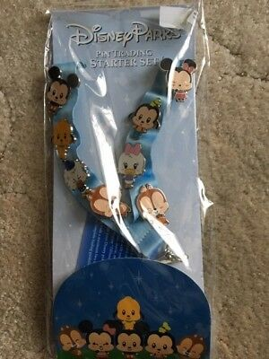 Disney Parks Pin Trading 2015 Starter Set Cute Characters with Lanyard & 8 Pins