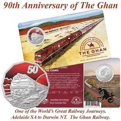 90th Anniversary of the Ghan 50c Coloured Coin in Card  SELLING FAST