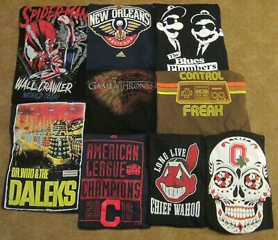 lot of 9 novelty graphic shirts PELICANS Nintendo DR. WHO Thrones INDIANS OSU