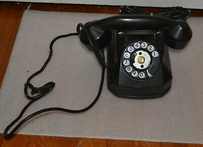 Vintage Automatic Electric Monophone Black Rotary Dial Desk Telephone