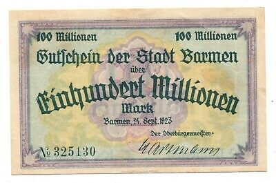 Barmen- 100 Millionen Mark - 24 Sept. 1923