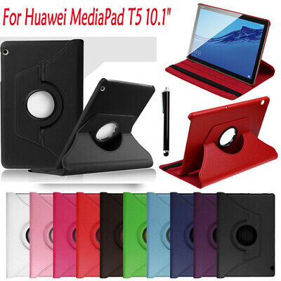 """For Huawei MediaPad T5 10.1"""" Case 360° Rotating Leather Cover Stand Skin+Pen"""