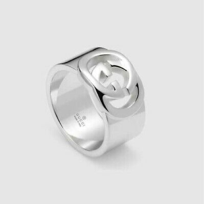 af47a7e91 GUCCI STERLING SILVER Interlocking GG Ring 6.5 13 $220 Jewelry ...