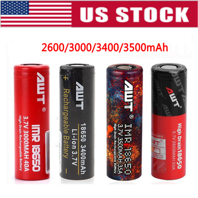 AWT IMR 18650 3000MAH 3.7V Rechargeable Batteries High Drain Battery For Mods-US