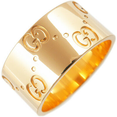 324c1c9c2 Authentic GUCCI ICON Wide Ring K18YG Yellow Gold #12 US6 HK13 EU52 Used F/