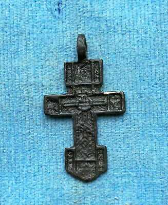 RARE 14-15th CENTURY BRONZE ORTHODOX SWORD-SHAPED ** CRUSADER'S ** CROSS