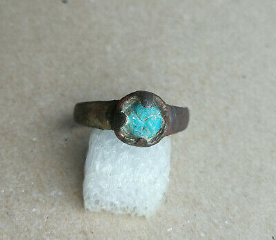 Ancient Viking Old Bronze Ring With BLUE STONE Very Rare