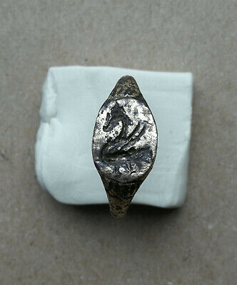 "Ancient Viking Old Bronze FABULOUS STATUS Ring Runic Ornament ""DRAGON"" VERY RARE"