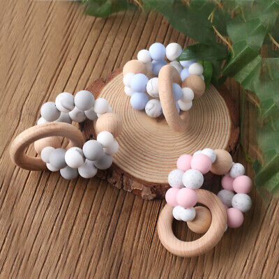 Safely Double Silicone Beads Baby Teething Bracelet Beech Wood Ring Teether Toys