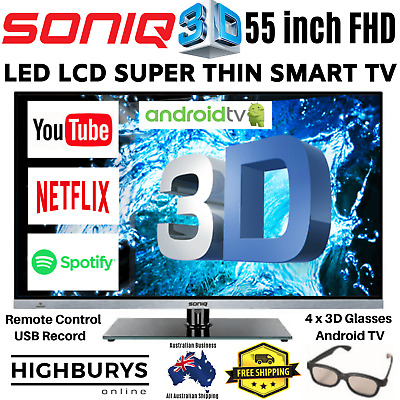 Soniq 55 inch E55S14A FHD LED LCD 3D Smart TV HDMI USB Remote + 3D Glasses | NEW