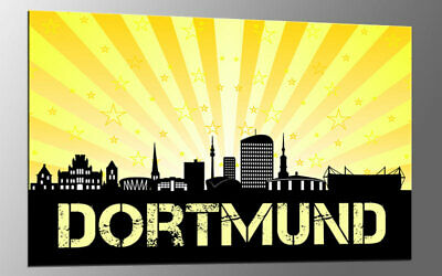 XXL WANDBILD CITY EDITION 150 x 100 cm DORTMUND SUNRISE YELLOW A03416 FERTIG MON