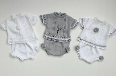 Baby Boys Girls Unisex Spanish Knitted Pom Pom Outfit Suit Jam Pants 3-12 Months