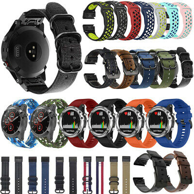 Replacement Silicone & Leather & Nylon Watch Band For Garmin Fenix 3 HR 5 5X 5S