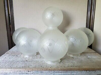 7 BALL SHADE globe FROSTED GLASS cut to clear ANTIQUE lamp PARTS ceiling banquet