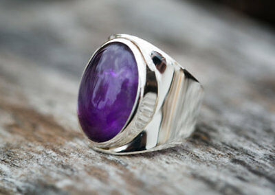 Solid 925 Silver Amethyst Gemstone Men's Jewelry Signet New Year Gift Fine Ring