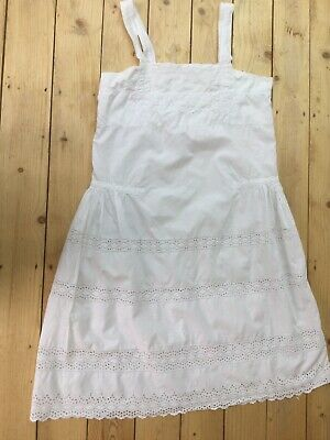 True Vintage70s White Broderie Anglaise Lace Cotton Slip Dress Hippy Boho Size M