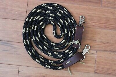 10' Hand made Rope loop reins with water tie. Black and gold.