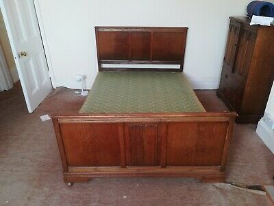 antique  double bed iron frame oak head and foot board