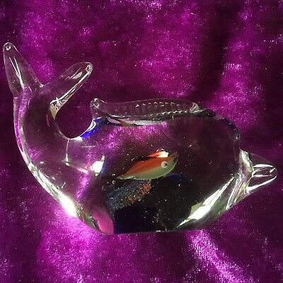 Vintage Murano Glass Whale Fish Inside Paper Weight Art Glass