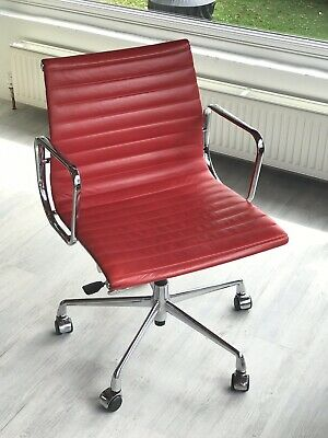 Eames E117 Red Aniline Leather Chair