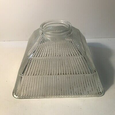 Antique large clear ribbed square halophane shade for ceiling fixture