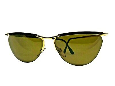 Vogue Sunglasses Vintage Ages 80 'S Italy Sunglassses Retro Gold Oval Woman