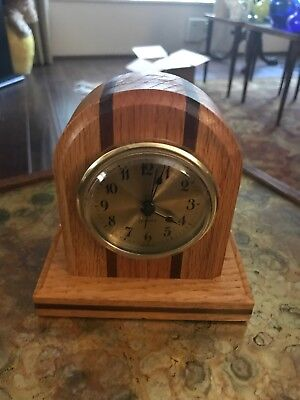 """Solid Wood Mantel Clock Quartz - Battery Operated -  Handcrafted Case  5 1/4"""" T"""